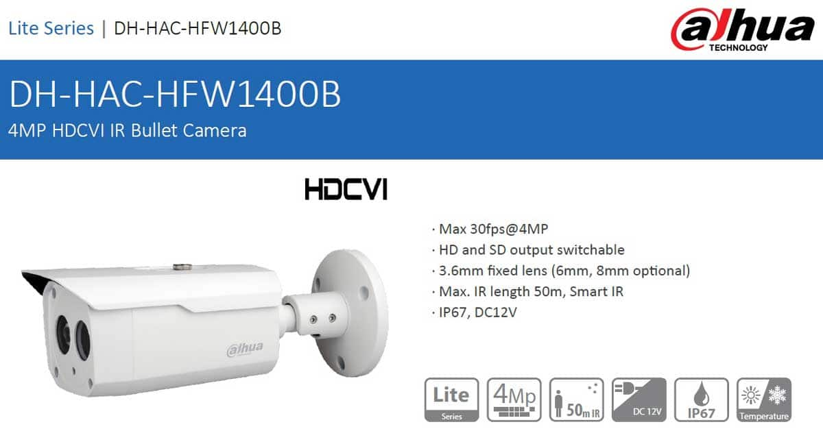 دوربین مداربسته داهوا مدل DH-HAC-HFW1400BP